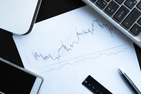 Stock chart and pan Stock Photo