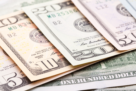 banknotes of dollars with different denominations Stock Photo