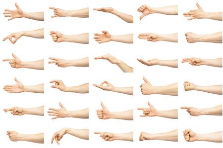 Multiple male caucasian hand gestures