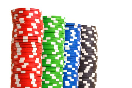 Stacks of colorful poker chips
