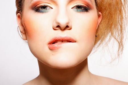 Beautiful Fashion woman model face portrait
