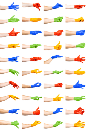 set of colorful hand gestures
