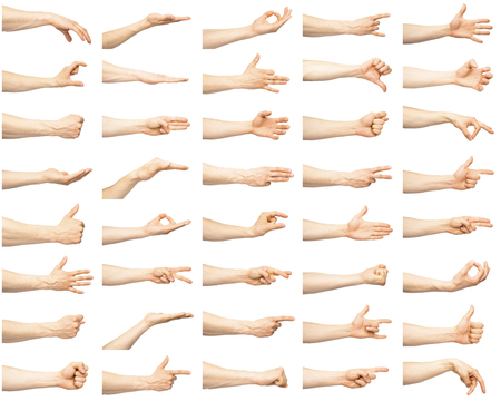 Multiple male hand gestures