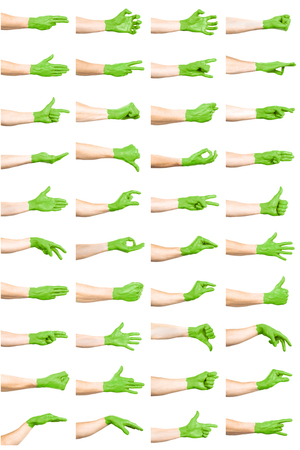 set of green hand gestures Foto de archivo