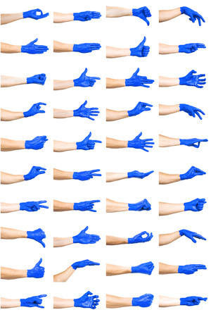 set of blue hand gestures Stock Photo
