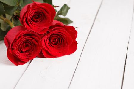 beautiful three red roses Stock Photo