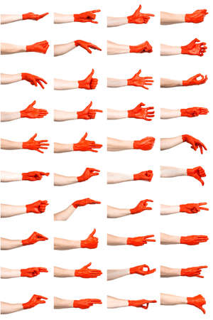 set of red hand gestures