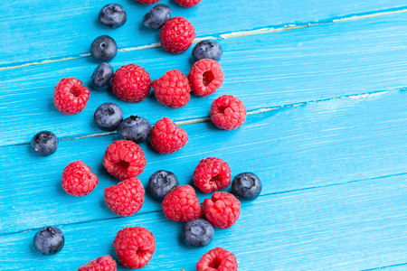 Raspberry with blueberry.