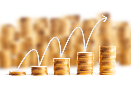 Rows of coins for finance and banking concept Stock Photo