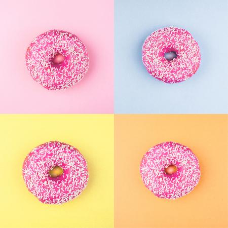 Four sweet doughnuts on color background. Fashion minimal Stock Photo