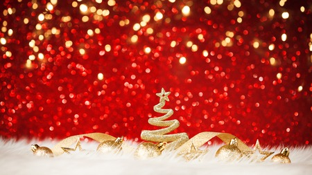 Shining Christmas Tree In The Red Background Stock Photo