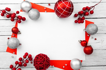 Red christmas frame with balls. New Year Card