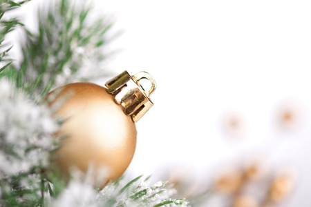 Christmas ball and tree on white background