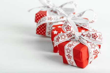 Christmas New Year Gift Boxes on white background