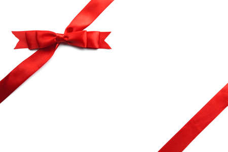 Red gift bow isolated on white background Stock Photo
