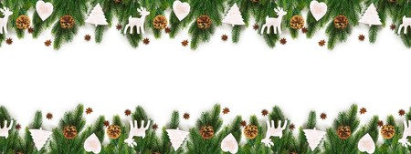Christmas tree branches on white background as a border or template Standard-Bild