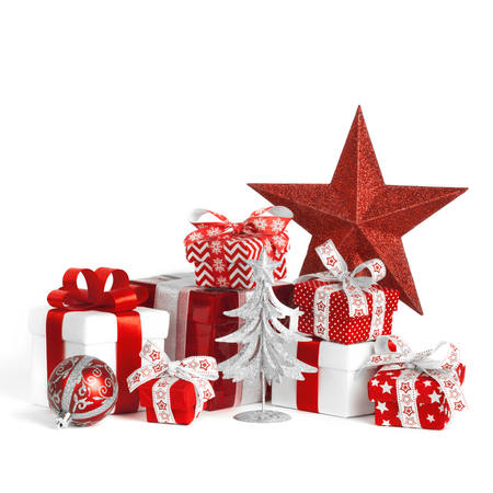 Christmas gift boxes with ball and big star isolated on white background