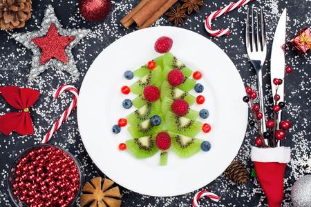 Healthy Christmas dessert snack breakfast for kids Stock Photo