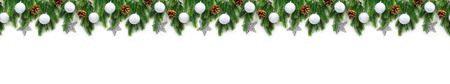 Christmas tree branches on white background as a border Stock Photo