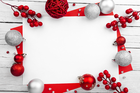 Christmas composition. Christmas decoration on wooden white background Stock Photo