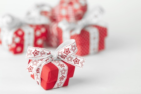 Christmas red gift box on white background