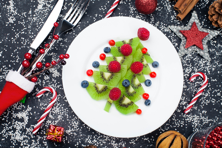 Healthy Christmas dessert for kids Stock Photo