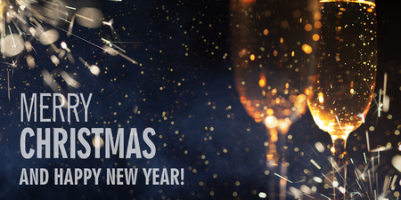 Christmas and new year celebration background with champagne Stock Photo