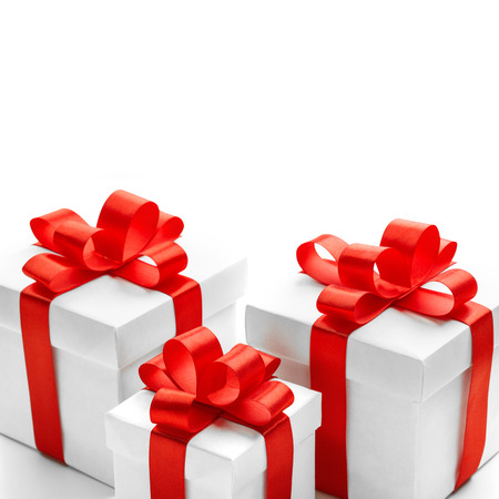 Christmas and New Years Day. Three red gift box white background