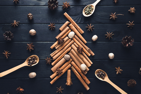 Christmas tree made of cinnamon, star anise, spices and nutmeg on dark background