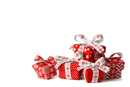 Five christmas gift boxes on white background
