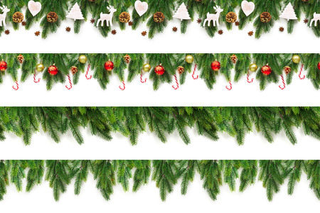 Set of Christmas tree branches on white background as a border