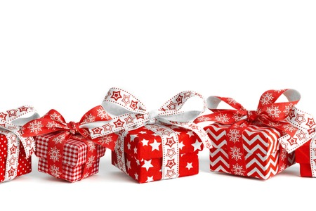 Different Christmas gift boxes and original ribbons Stockfoto