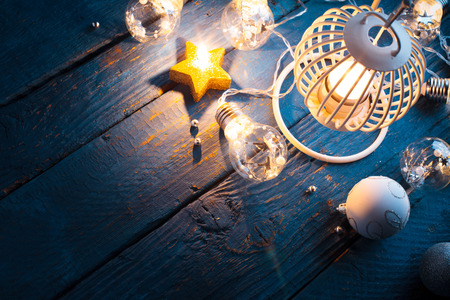 Lantern for Christmas with candles and decorations Stockfoto