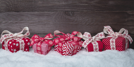Christmas Background with Beautiful Gift Boxes Set Stockfoto