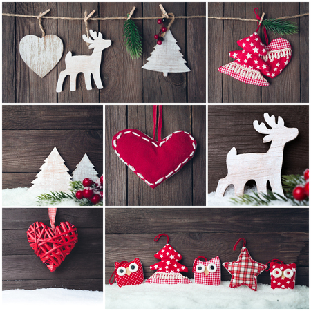 Collage of photos with christmas vintage toys