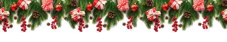 Christmas tree branches on white background as a border Stockfoto