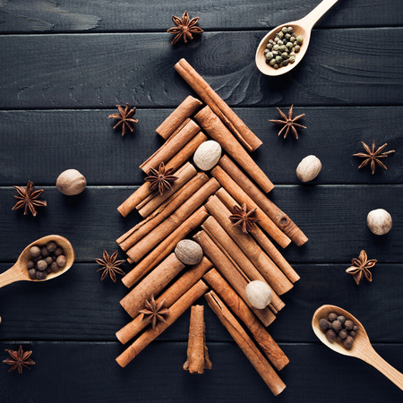 Christmas tree made of cinnamon and anise