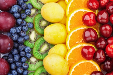 Fresh fruits.Assorted fruits colorful background. Color range 免版税图像 - 119024577