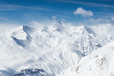 Winter snowy mountains. Caucasus Mountains, Georgia, Gudauri Reklamní fotografie
