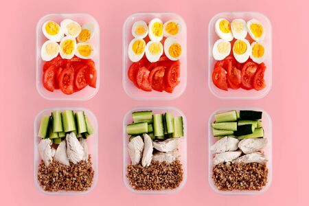 Healthy fitness food for the whole day. Multiple portions in containers 스톡 콘텐츠 - 129157365