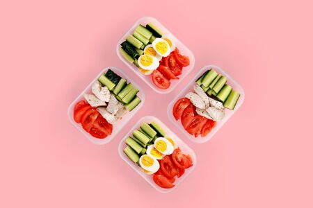 Healthy fitness food in container. Sport food minimalism 스톡 콘텐츠 - 129157372