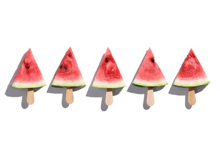 Piece of Watermelon on isolated white backgroud. Minimal style