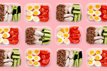 Healthy fitness food for the whole day. Multiple portions in containers