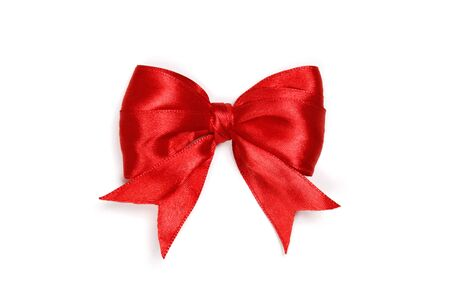 Red satin gift bow isolated on white background. Standard-Bild