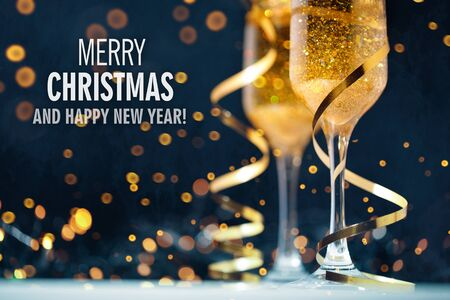 Happy New Year. Christmas and New Year holidays background with copy space.