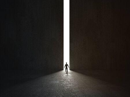 Man walking in a narrow light passage. 3D rendering.
