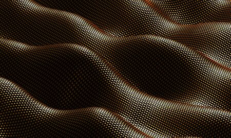 Gold metal background with waves. 3d rendering.