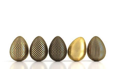 Golden egg in row isolated on white. 3d rendering Stock Photo