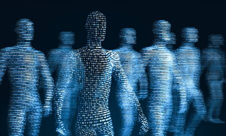 crowd of walking digital people. The concept of the symbiosis of man and technology. Computer integration in humans. 3d rendering