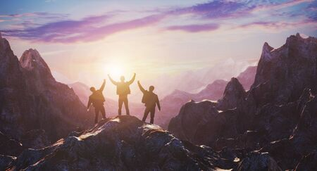 A team of three celebrates a luncheon on top of a mountain against a sunset. The concept of business and achieving goals. 3d rendering